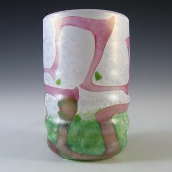 SIGNED Mtarfa Maltese Vintage Pink, Green & White Glass Vase