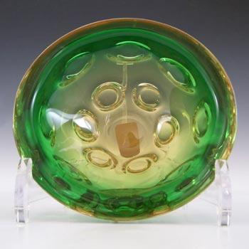 Vetro Artistico Veneziano Murano Green & Amber Glass Bowl