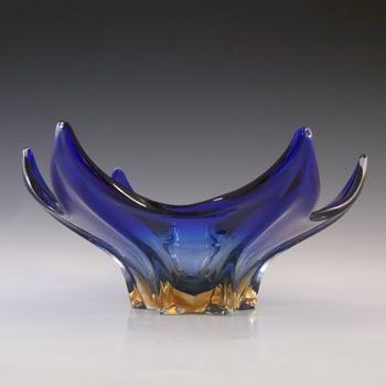 Cristallo Venezia Murano Blue & Amber Sommerso Glass Sculpture Bowl