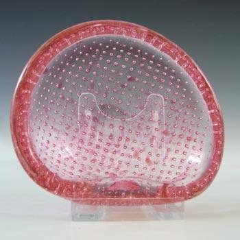 Archimede Seguso Murano Bullicante Speckled Pink Glass Bowl