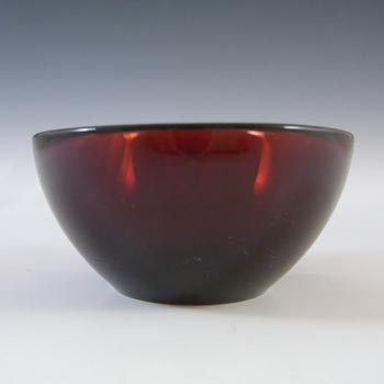 MARKED Orrefors Sven Palmqvist Miniature Red Glass Fuga Bowl