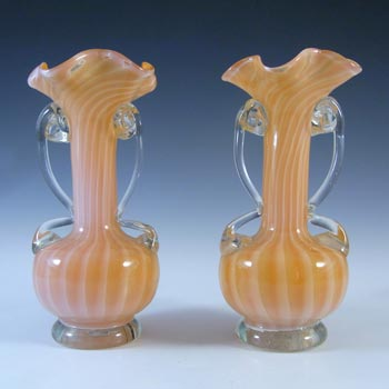 Pair of Czech 1930's Orange & White Striped Glass Vases