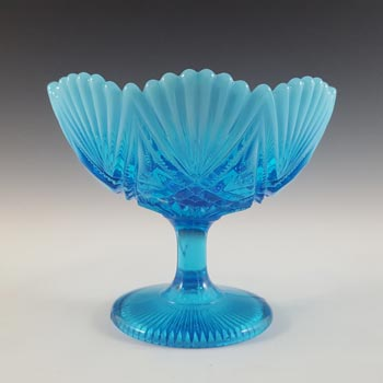 Davidson Blue Pearline Glass 'Victoria & Albert' Footed Bowl