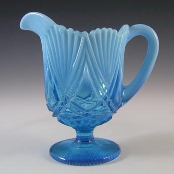 Davidson Blue Pearline Glass 'Victoria & Albert' Jug / Creamer