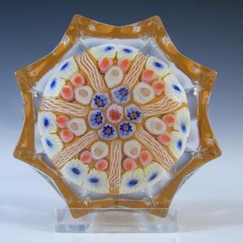 Strathearn Scottish Orange Glass Millefiori Canes Paperweight