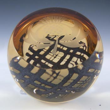 Caithness Amber Glass 'Brave Heart' Paperweight - Marked