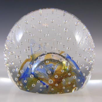 BOXED Caithness Blue & Yellow Glass 'Reflections '92' Paperweight