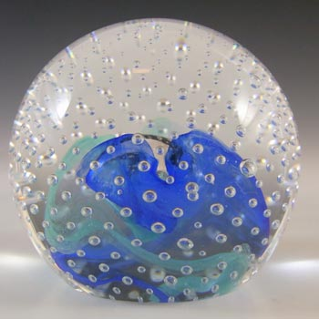 BOXED Caithness Vintage Blue Glass 'Reflections '93' Paperweight