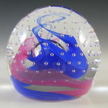 BOXED Caithness Vintage Pink & Blue Glass 'Reflections '95' Paperweight