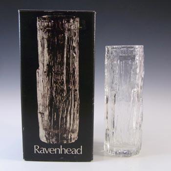 Ravenhead BOXED Vintage Clear Glass Textured Bark Vase