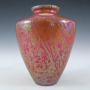 MARKED Royal Brierley Iridescent Red Glass 'Studio' Vase - Label