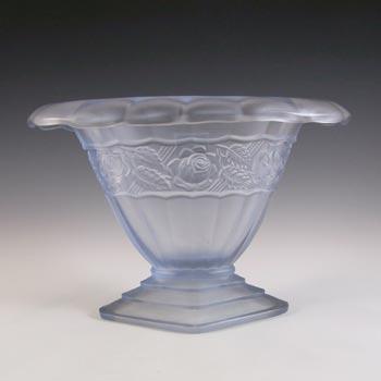 Ankerglas Bernsdorf Art Deco Blue Glass 'Rosalind' Vase