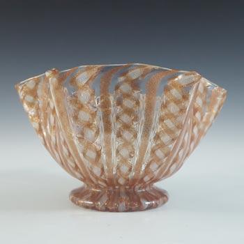 Salviati Murano Zanfirico & Copper Aventurine Glass Finger Bowl