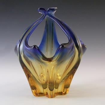 Cristallo Venezia CCC Murano Blue & Amber Vintage Glass Bowl