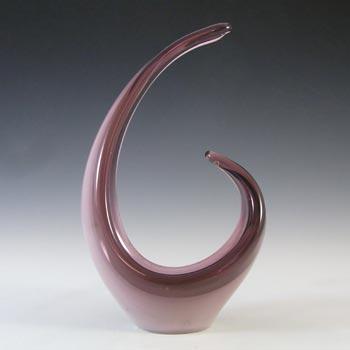 LABELLED Cris-Daum Murano Style Purple Glass Sculpture Bowl