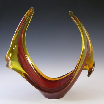 Viartec Murano Style Selenium Red & Orange Spanish Glass Sculpture