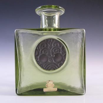 SIGNED & LABELLED Skruf Swedish Green Glass Bottle Vase