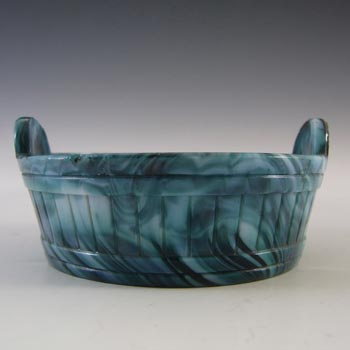 Sowerby #1259 Victorian Green Malachite / Slag Glass Bowl - Marked