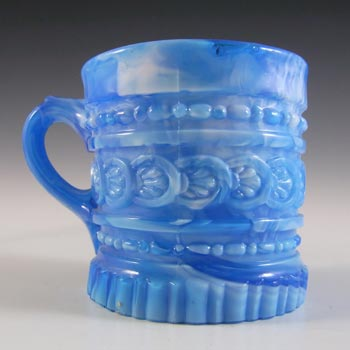Victorian Blue & White Malachite / Slag Glass Tankard