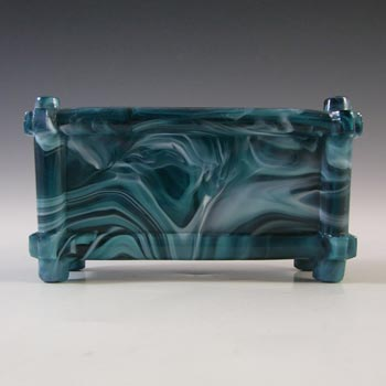 Sowerby #1231 MARKED Victorian Turquoise Malachite/Slag Glass Bowl
