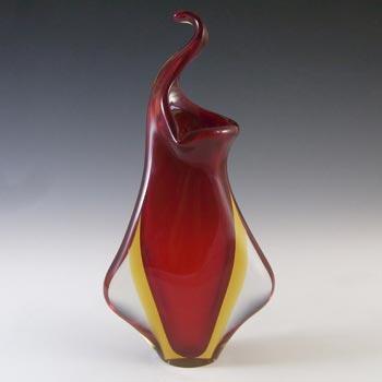 Murano / Venetian Red & Amber Vintage Sommerso Glass Vase