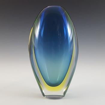 Arte Nuova Murano Sommerso Blue & Uranium Yellow Glass Vase