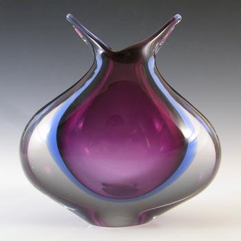 Murano / Venetian Purple & Blue Vintage Sommerso Glass Vase