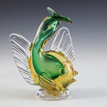 Artistica Murano CCC Green & Amber Sommerso Glass Vintage Fish Sculpture