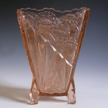Sowerby Art Deco 1930's Pink Glass 'Daisy' Vase