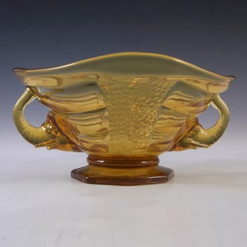 Sowerby #2614 Art Deco 1930's Amber Glass Elephant Bowl