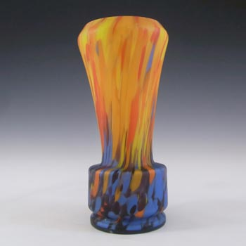 Czech 1930's Spatter / Splatter Orange & Blue Glass Vase