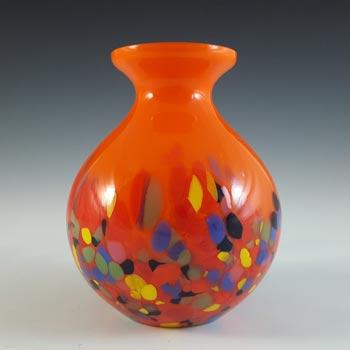 Czech Red & Multicoloured Art Deco Spatter Glass Vase