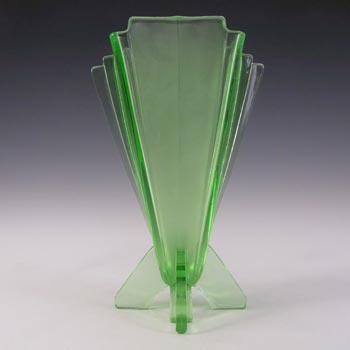 Stölzle #19249 Vintage Czech Art Deco Uranium Green Glass Vase