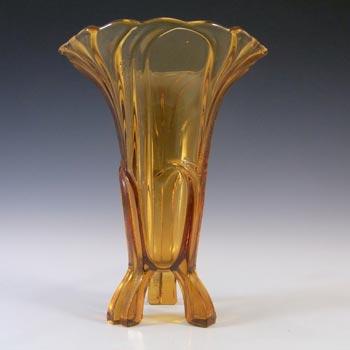 Stölzle #18781 Czech 1930's Art Deco Amber Glass Vase