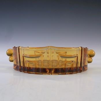 Czech? Vintage Art Deco 1930's Amber Glass Bowl