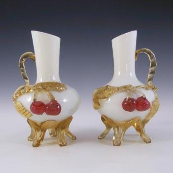 Victorian Uranium Custard Glass Cherry & Leaves Vases