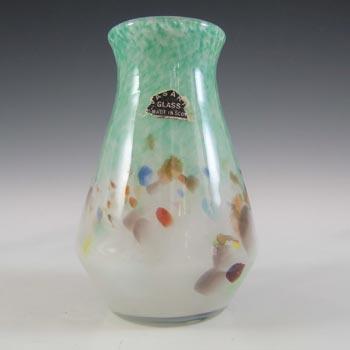 LABELLED Vasart Green & White Mottled Scottish Glass Vase V021