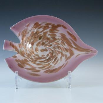 Vetro Artistico Veneziano Murano Silver Leaf Pink Glass Bowl