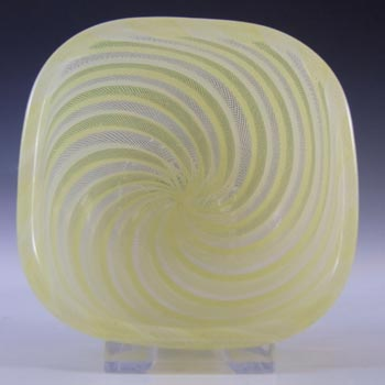 Venini Murano Yellow & White Glass Zanfirico Bowl by Carlo Scarpa