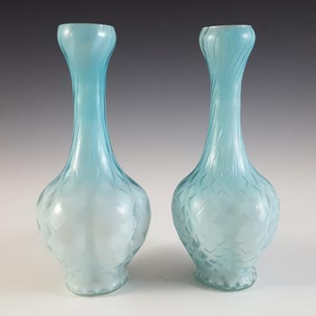 Victorian Satin Air Trap Blue & White Glass Pair of Vases
