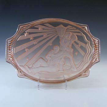 Walther & Sohne Art Deco Pink Glass Pierrot & Pierrette Tray