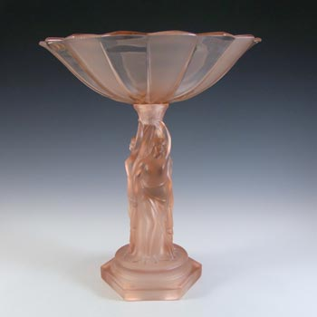 Walther & Sohne Art Deco Pink Glass 'Three Graces' Comport