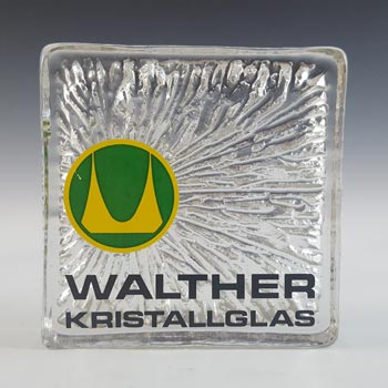 Walther Kristallglas German Glass Advertising Block / Slab