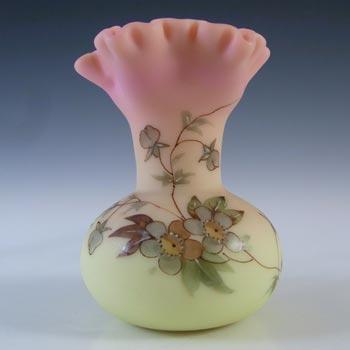 Thomas Webb Victorian Burmese Uranium Floral Glass Vase