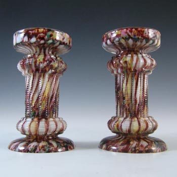 Pair of Welz Bohemian Honeycomb Spatter Glass Candlesticks