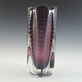Whitefriars #9771 Aubergine Glass Controlled Bubble Lobed Vase