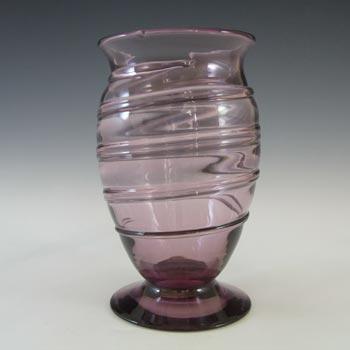 LABELLED Whitefriars #9297 Amethyst Glass Ribbon Trail Vase