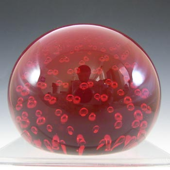 Whitefriars #9308 Ruby Red Glass Controlled Bubble Paperweight
