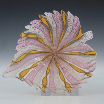 Murano Zanfirico Pink, Orange & White Glass Aventurine Bowl