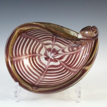 Barovier & Toso 'Graffati' Murano Gold Leaf Purple Glass Bowl